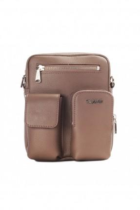 حقيبة يد جلد رجالي جيب 3 مع حزام