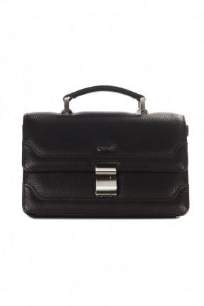 حقيبة يد رجالي جلد معلم - بني داكن