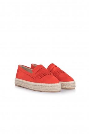 حذاء نسائي نعل حصير - برتقالي