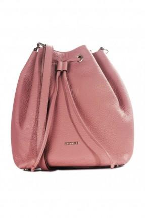 حقيبة يد نسائية جلد مزمومة - زهري