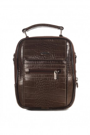 حقيبة يد جلد رجالي جيب 2 - بني داكن