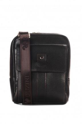 حقيبة يد جلد رجالي - بني داكن