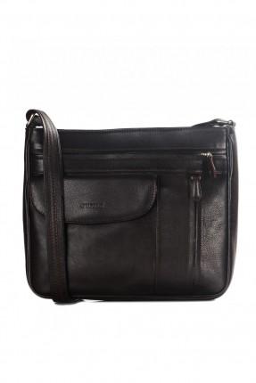 حقيبة يد نسائية جلد بسحاب وجيب - اسود