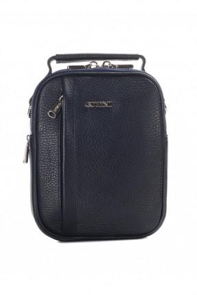 حقيبة يد جلد رجالي سحاب 3 - كحلي