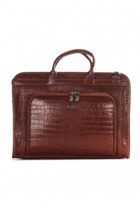 حقيبة يد رجالي جلد محامي - بني