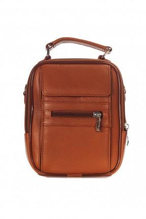 حقيبة يد جلد رجالي جيب 2 - بني