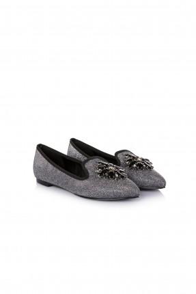 حذاء نسائي مجوهرات - فضي