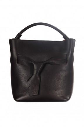 حقيبة نسائية جلد مع ربطة امامية - بني