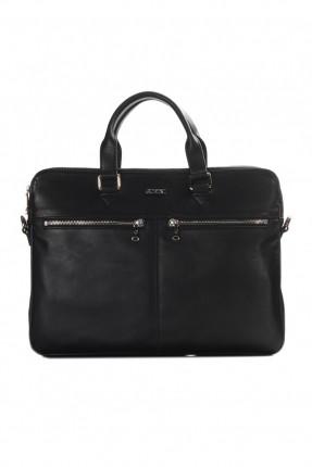 حقيبة يد رجالي جلد رجل اعمال - اسود