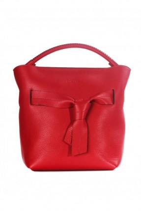 حقيبة نسائية جلد مع ربطة امامية - احمر