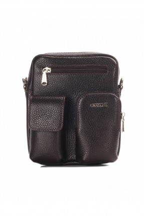 حقيبة يد جلد رجالي جيب 3 مع حزام - بني داكن