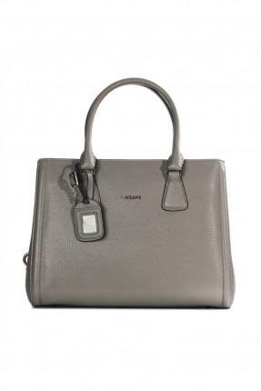 حقيبة يد نسائية جلد - رمادي