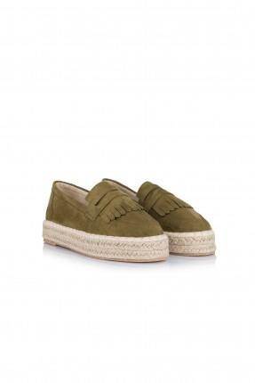 حذاء نسائي نعل حصير - خاكي