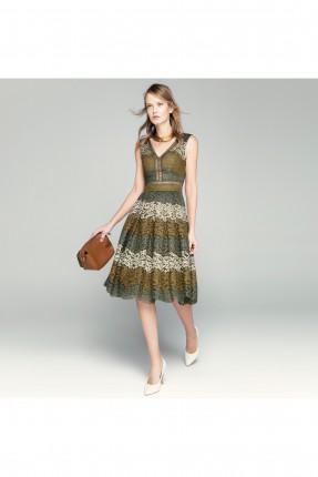 فستان مزخرف - زيتي