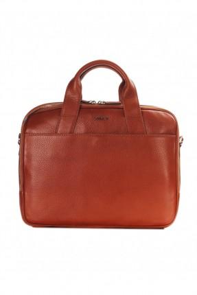 حقيبة يد رجالي جلد معلم - بني