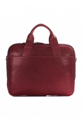 حقيبة يد رجالي جلد معلم - خمري