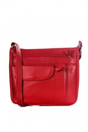 حقيبة يد نسائية جلد بسحاب وجيب - احمر