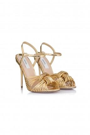 حذاء سهرة نسائي كعب طويل - ذهبي
