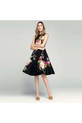 فستان بطبعة ورود - اسود