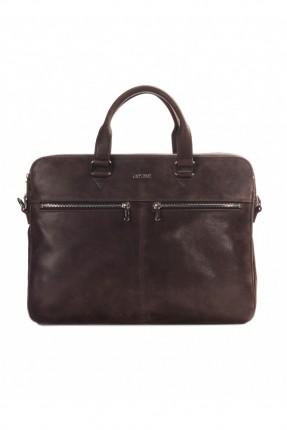 حقيبة يد رجالي جلد محامي مع جيب  - بني داكن