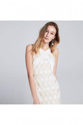 فستان رسمي مزخرف - ابيض