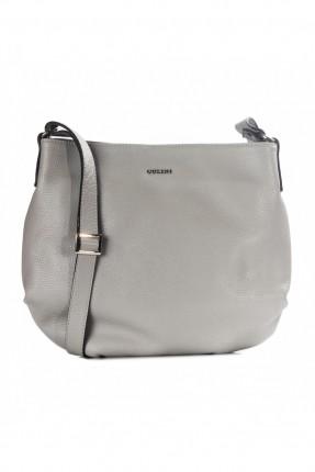 حقيبة نسائية جلد - رمادي