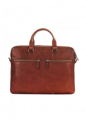 حقيبة يد رجالي جلد لابتوب - بني