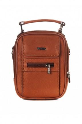 حقيبة يد جلد رجالي مع جيب - عسلي