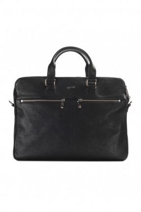 حقيبة يد رجالي جلد معلم- اسود
