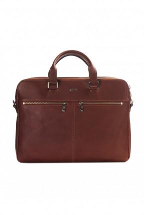 حقيبة يد رجالي جلد  - بني