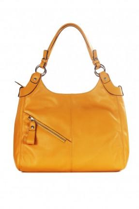 حقيبة نسائية جلد سحاب جانبي - اصفر