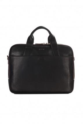 حقيبة يد رجالي جلد لابتوب - بني داكن