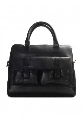 حقيبة يد رجالي جلد معلم - اسود