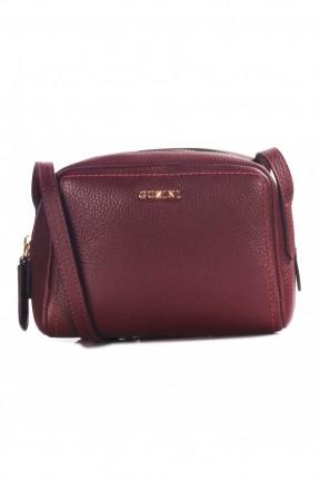 حقيبة يد نسائية بسحاب جلد - خمري