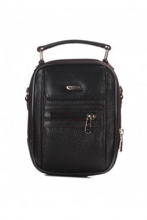 حقيبة يد جلد رجالي مع جيب - كحلي