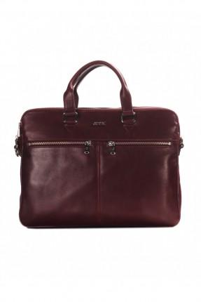 حقيبة يد رجالي جلد وقائق- خمري