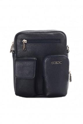 حقيبة يد جلد رجالي جيب 3 مع حزام - كحلي