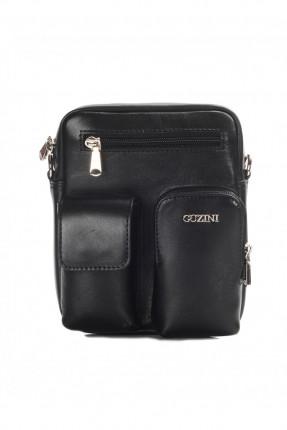 حقيبة يد جلد رجالي جيب 3 مع حزام - اسود