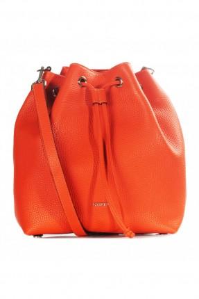 حقيبة يد نسائية جلد مزمومة - برتقالي