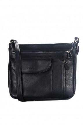 حقيبة يد نسائية جلد بسحاب وجيب - ازرق داكن