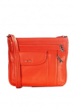 حقيبة يد نسائية جلد بسحاب وجيب - برتقالي
