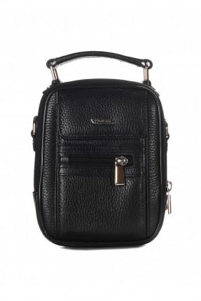 حقيبة يد جلد رجالي مع جيب - اسود