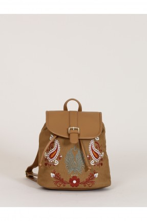 حقيبة ظهر نسائية منقوشة - بني