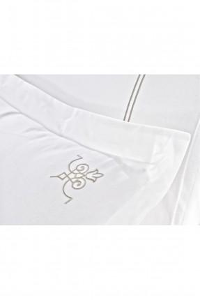 طقم غطاء سرير مزدوج كلاسيك / 3 قطع /  ابيض
