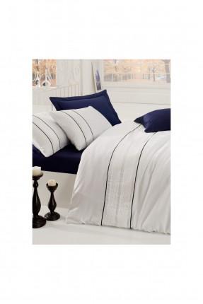 طقم غطاء سرير مزدوج / قطعتين / كحلي - ابيض