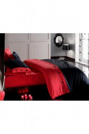 طقم غطاء سرير مزدوج ساتان / قطعتين / احمر - اسود