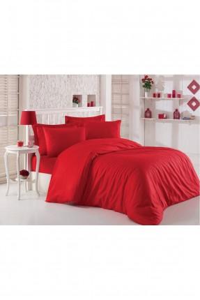 طقم غطاء سرير مزدوج ساتان / قطعتين / احمر