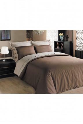 طقم غطاء سرير مزدوج ساتان / قطعتين / بني