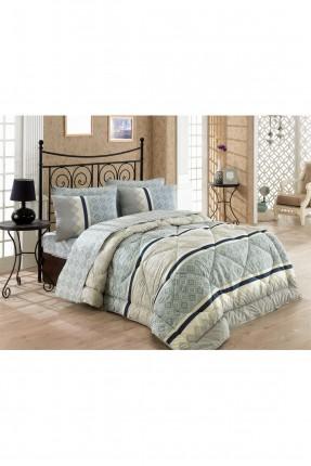 طقم سرير مزدوج / 4 قطع / ازرق