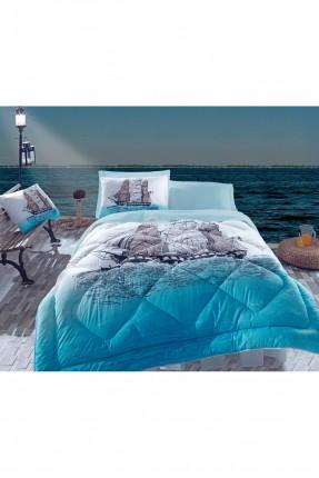 طقم لحاف سرير فردي -  ازرق